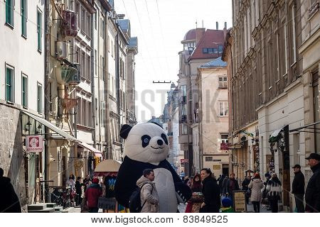 Lviv, Ukraine - February 22, 2015 Lviv Unique Architecture And Panda