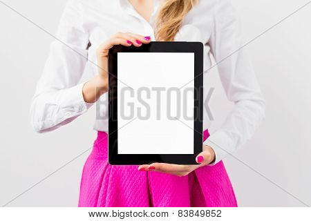 Business woman showing tablet computer
