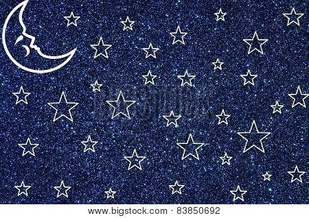 Moon and stars on blue glitter background