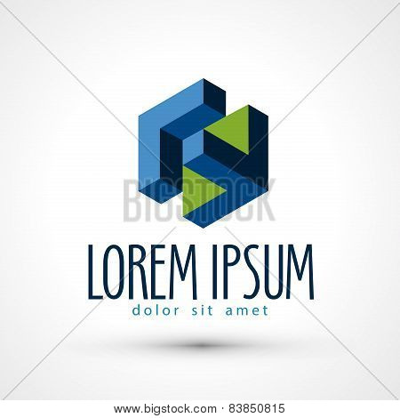 company vector logo design template. business or isometric icon.