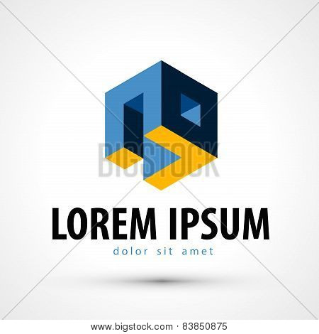 company vector logo design template. business or 3D icon.