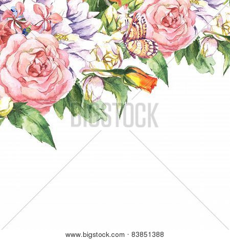 Floral Greeting Card with Blooming Jasmine