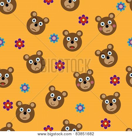 Vector seamless pattern with funny bears