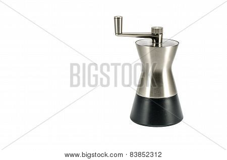 Modern pepper metal mill isolated on white