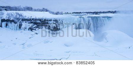 Goat Island And Horseshoe Falls, Frozen, Dawn, Winter Morning