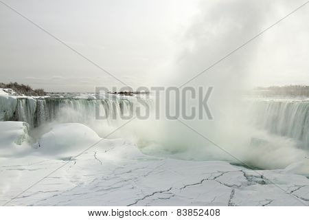 Horseshoe Falls And Frozen Niagara River In Winter