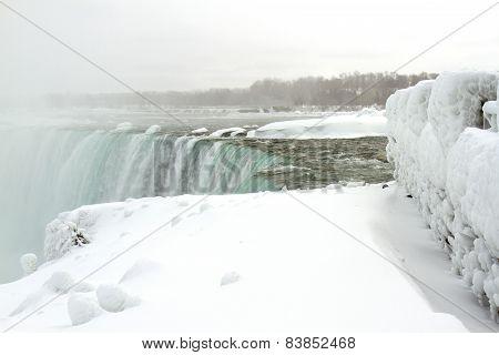Top Of Horseshoe Falls In Winter