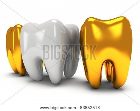 Gold and healthy teeth