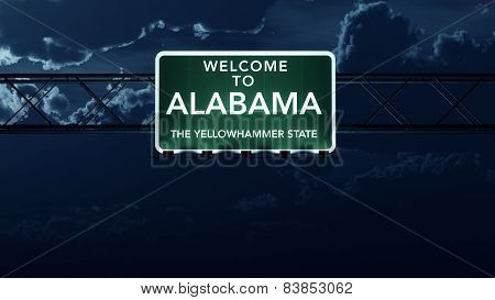 Alabama USA State Welcome to Interstate Highway Sign at Night