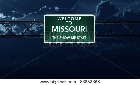 Missouri USA State Welcome to Interstate Highway Sign at Night