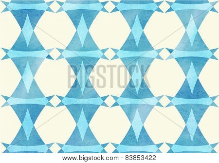 Blue triangle, lozenge watercolor pattern.
