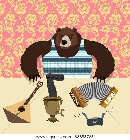 traditional bear Russia. Russian pattern background. Play an instrument