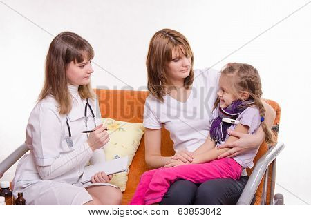Sick Girl Sitting On Lap Of Mother And Pediatrician Inspection