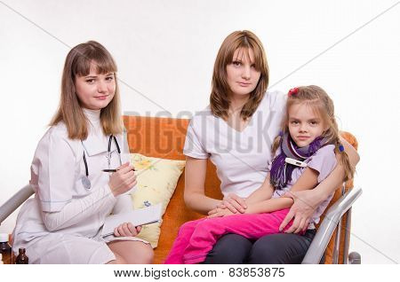 Sick Girl Measures The Temperature Of Sitting On Lap Mother And Doctor Writes A Complaint