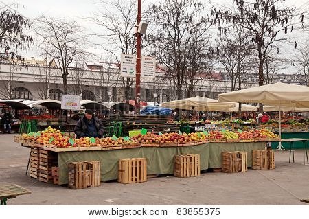 Local Farmer Market In Center Of Ljubljana, Slovenia.