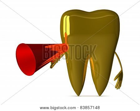 Golden Tooth With Megaphone
