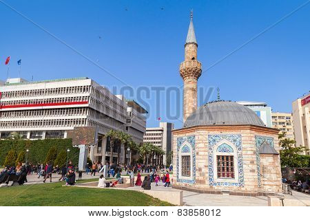 Ancient Camii Mosque On Konak Square, Izmir, Turkey