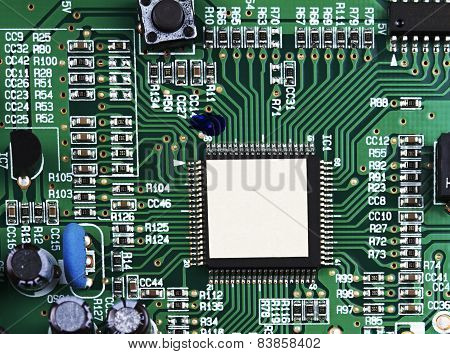 Closeup Green Electronic Circuit Board With Flat Ad Space