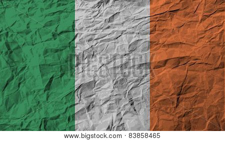 Flag Of Ireland With Old Texture. Vector
