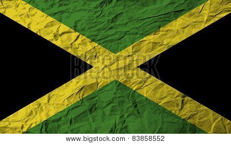 Flag Of Jamaica With Old Texture. Vector