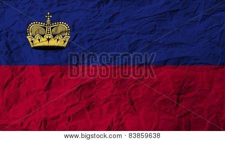 Flag Of Liechtenstein With Old Texture. Vector
