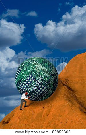 Pushing Computer Ball Up Hill.