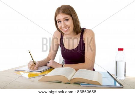 Young Beautiful College Student Girl Studying Happy Confident And Positive