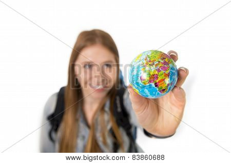 Beautiful Student Girl Holding Little World Globe In Her Hand Choosing Holidays Destination In Trave