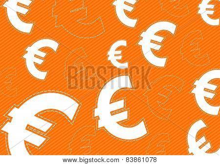 Euro Money Icon On Orange Background