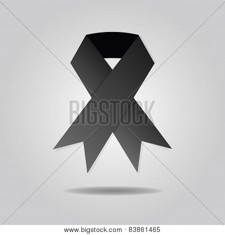 Abstract black ribbon on gray gradient background