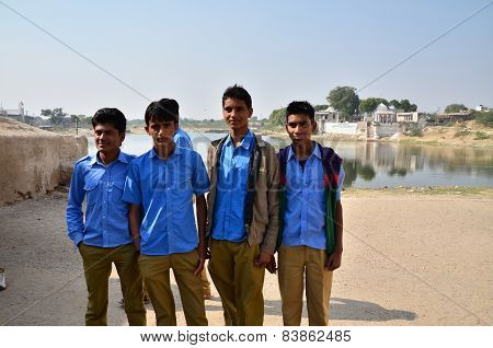 Jodhpur, India - January 2, 2015: Group Of Young Indian Men Poses Proudly In Jodhpur, India.