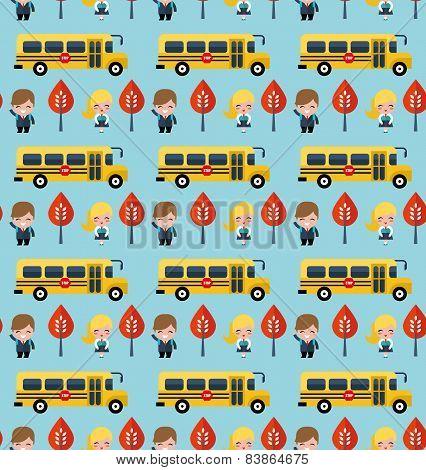 bus and school children pattern