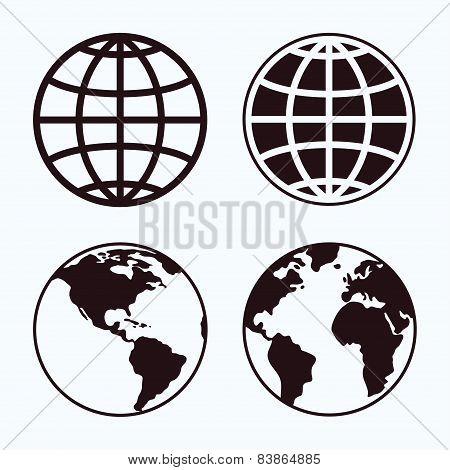 Globe icon set.