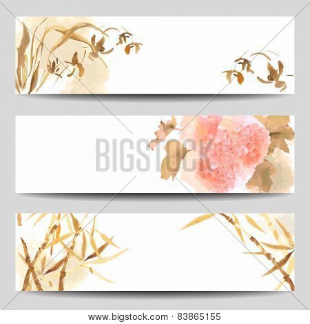 Oriental Style Watercolor Vector Banners