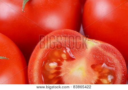 The Red Fresh Tomatoes Cut