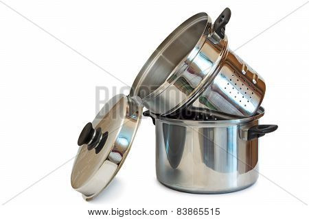 Large Comfortable Pot On A White Background.