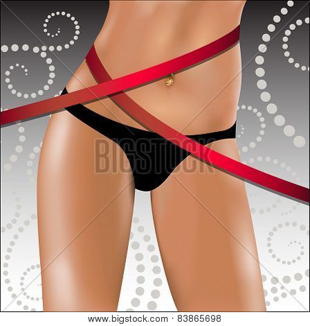 Slender Female Hips And Waist With A Measuring Tape. Vector Illustration.