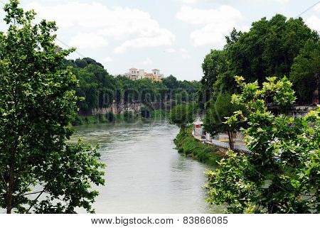 View Of Tiber River In Rome City On May 31, 2014