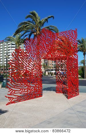 Red metal sculpture, Almeria.