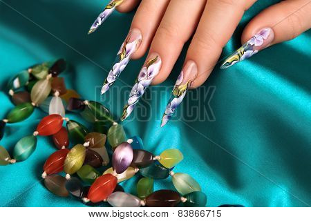 Floral Design On The Nails.