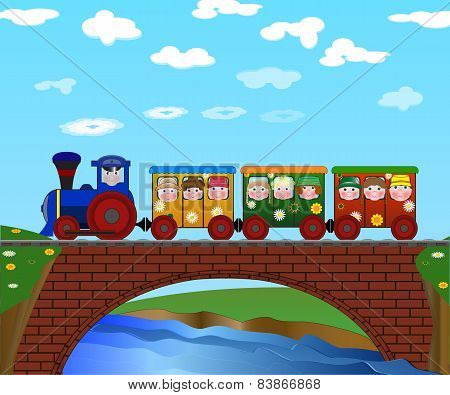 Colorful Train With Children