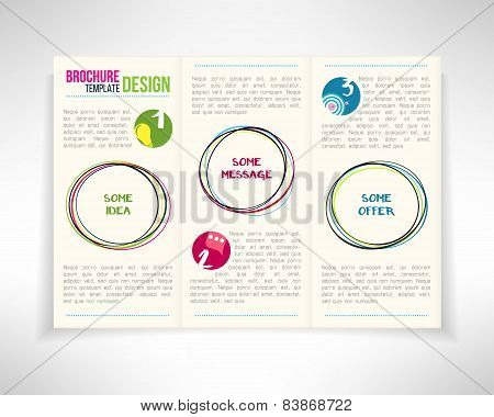Modern three fold brochure leaflet flyer design template with circles. Vector