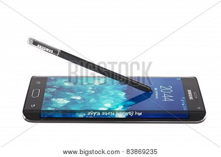 Varna, Bulgaria - February 14, 2015: Studio Shot Of A Black Samsung Galaxy Note Edge Smartphon