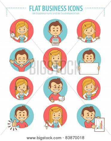 Set of flat business icons with businessmans and businesswomen