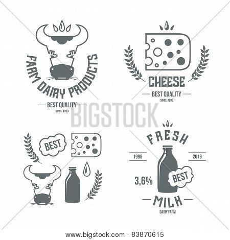Farm Dairy Products Emblems And Icons