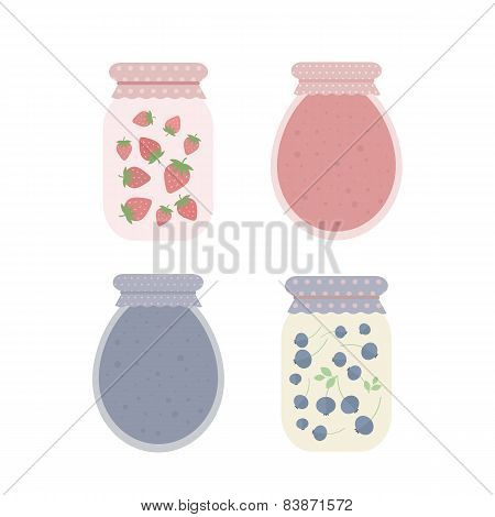 Jam In Jars. Vector Illustration