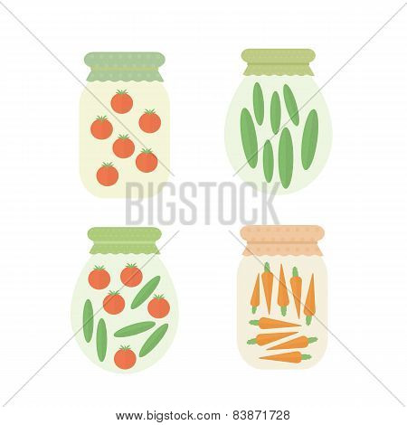 Preserve Vegetables In Jar. Vector Illustration