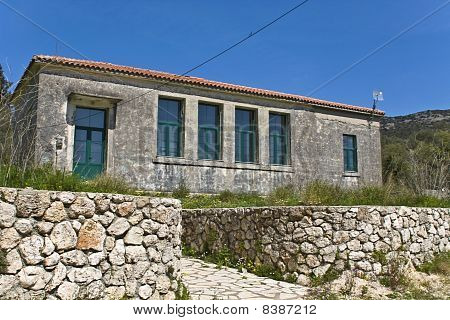 Traditional school at Lefkada island of Greece