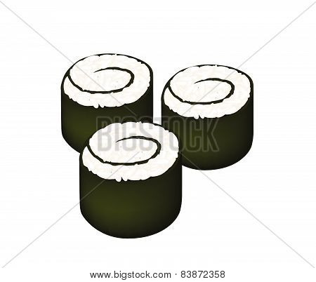 Rice Maki Sushi Roll Or Rice Nori Roll