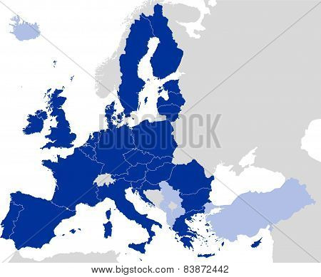 European Union Countries Political Map Silhouette